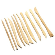 Set of 10 high quality wooden clay tools with double sided crafting sculpting modelling pottery ends by Kurtzy TM