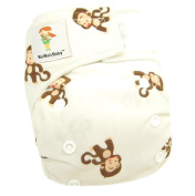 "Kawaii Baby Newborn Reusable Cloth Nappy Pure & Natural 2.7-10kg. With 2 Microfiber Inserts "" Monkey """
