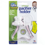 Baby Buddy Universal Pacifier Holder, Pink Brown Hot Trax