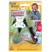 Baby Buddy Universal Pacifier Holder, Black with White Stitch