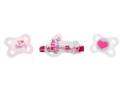 MAM Love and Affection Daddy Silicone Pacifier with Clip, Pink, 0-6 Months, 2-Count