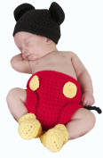 Jastore® Photography Prop Baby Costume Cute Crochet Knitted Hat Cap Girl Boy Nappy Shoes Mouse