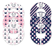 #C136 Nautical Girl Baby Closet Dividers Clothes Organisers Set of 6 Pink Navy