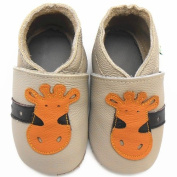 Sayoyo Baby Ciraffes Soft Sole Beige Leather Infant And Toddler Shoes 0-6Months