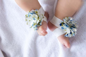 FuzzyGreen® Cute Baby Infant Barefoot White & Blue Cloth Flowers Sock Sandal Shoes Infant Booties