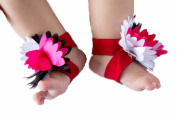 FuzzyGreen® Cute Baby Infant Barefoot Cloth White, Black & Red Flowers Sock Sandal Shoes Infant Booties