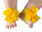 FuzzyGreen® Cute Baby Infant Barefoot Yellow Cloth Flowers Sock Sandal Shoes Infant Booties