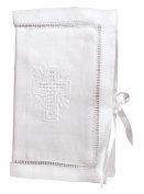 Stephan Baby Keepsake Bible with Embroidered Cover and Ribbon-Tie Closure, White