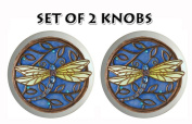 SET of 2 Dragonflies Dragonfly Ceramic Drawer Pull Knob 1.5 FLAT SMOOOTH FINISH