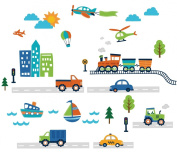 Transportation and City Scene Kids' Room Peel and Stick Wall Sticker Decals