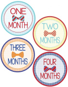 Baby Boy Bow Tie Monthly Onesie Stickers - Baby Photo Prop - Newborn Sticker - Bodysuit Stickers - Moustache Stickers
