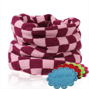 NSSTAR New Arrival Fashionable Double Colour Grid Plaid Pattern Baby Infant Kids Toddler Unisex Boys Girls Weave Knitting Warm Neck Warmer with 1PCS Free Cup Mat Colour Ramdon