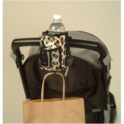 Sip & Stroll -Insulated Stroller Cup Holder - Cell Phone Holder - Leopard Print