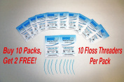 BridgeAid FlossAid FA-100 Dental Floss Threaders 10/pack BUY 10 Packs Get 2 FREE