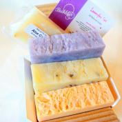 All Natural Handmade Soap Gift Set - Lavender, Lavender w/ Flowers, Lavender Lemongrass Castile - with All Natural/Organic Ingredients