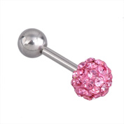 Top Plaza 1 Pair CZ Gem Beads 16G Stainless Steel Bar Tragus Cartilage Ear Studs Earrings, 5mm
