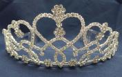 Bridal Wedding Tiara Crown With Rhinestone Crystal Heart T101