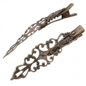 Antiqued Brass Alligator Hair Clips With Diamond Filigree Adornment - 5.1cm