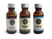 The 2 Bits Beard Oil 3 Pack - Classic Man, Woods Man, Fresh Man - Essential Oil Scented - Beard Conditioner by The 2Bits Man