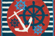 Anchors Away Ships Wheel Nautical Sailing Area Accent 50cm X 80cm Jellybean Rug