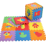 EOZY 10pcs 30*30cm Interlocking Foam Playmat Pop Out Animal Puzzle Play Mat Jigsaw Floor Tiles