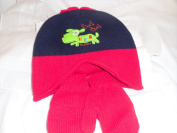 Knitted Hat & Mitten Set Colour Red & Navy 1-2 yrs