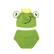 JTC Baby Boys Girls Knit Crochet Beanie Infant Photography Prop Costume Unisex Frog Hat Caps Pant Set