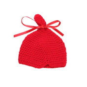 JTC Baby Boys Girls Knit Beanie Infant Bow Photography Prop Unisex Hat Caps Red