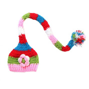JTC Baby Boys Girls Knit Crochet Beanie Infant Flower Photography Prop Unisex Hat Caps with Long Tail