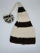 Five Season Dark Coffee & White Stripe Christmas Elf Crochet Hat For Babies