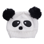 JTC Girl Babies Cartoon Panda Warm Handmade Knitted Multicolor Cap White