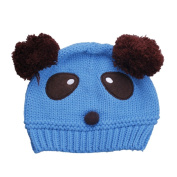 JTC Girl Babies Cartoon Panda Warm Handmade Knitted Multicolor Cap Blue