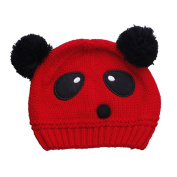 JTC Girl Babies Cartoon Panda Warm Handmade Knitted Multicolor Cap Red