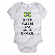 KEEP CALM AND GO TO BRAZIL - Brazilian / South America Themed Baby Grow / Suit
