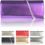 Zarla Ladies Shinny Faux Leather Cross Body Clutch Bridal Prom Party Women Evening Bag