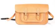 38cm Tan English Magnetic Snap Leather Satchel - Classic Retro Fashion Shoulder Bag Oxbridge Satchel - Magnetic Clasp