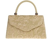 Womens Ladies Lace Mesh Top Handle Prom Party Evening Dressy Occasion Tote Hand Clutch Bag - E22