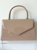 Nude Envelope Grab Bag, Beige Evening Bag, Small Brown Glossy Top Handle Handbag, Ladies Brown Top Handle Bag