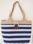 Navy Blue White Thick Stripe Button Shoulder Tote Bag