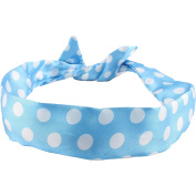 Wire Headband Retro Wired Head Scarf Rockabilly Wire Hair Band Head Wrap Vintage Blue Large Polka Dot