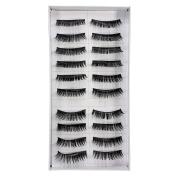 10 Pairs Black Natural Thick Volume False Eye Lash Eyelashes Makeup Cosmetic Xmas gift