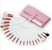 New Professional 20pcs Pink Goat Hair Cosmetic Brush Set with PU Bag
