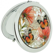 The Olivia Collection Silver Plated Butterfly Atlas Compact Mirror SC812