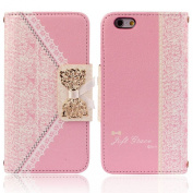 Ukamshop(TM)Fashion Pink Fresh Cute Flip Wallet Leather Case Cover for iPhone 6 12cm