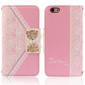 Ukamshop(TM)Fashion Pink Fresh Cute Flip Wallet Leather Case Cover for iPhone 6 12cm
