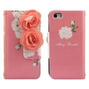 Ukamshop(TM)Flowers Flip Wallet Leather Case Cover for iPhone 5 5G 5S