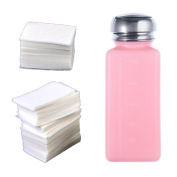 Well-Goal 1pcs New Empty Pump Dispenser Bottle And 400 X Lint Free Nail Art Wipes Acrylic Gel Tips For Nail Art Polish Remover