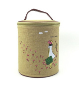 Meta-U Fashion Multifunction Make Up Cosmetic Storage Box Bucket Container Bag with Cartoon Straw Hat Girl Print