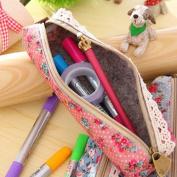 Floral Lace Pen Pencil Cosmetic Zipper Storage Case Pouch Bag Purse