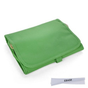 EBASE Fold-Up Cosmetic Bag, Green Travel Organiser, 4 Zip Compartments Cosmetic Bag w/ a 8*14cm Microfiber Cleaning Cloth